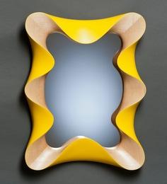 Viso Curled Teak Mirror Frame In Yellow & Brown