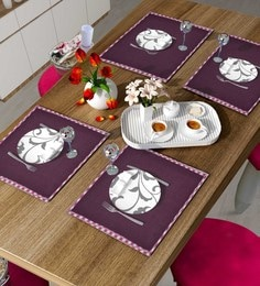 Vista Home Fashion Wine Border Pipping Placemats - Set Of 6