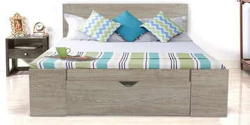 Vision Queen Bed With Drawer Storage In Oak Grey Finish By Alsapan