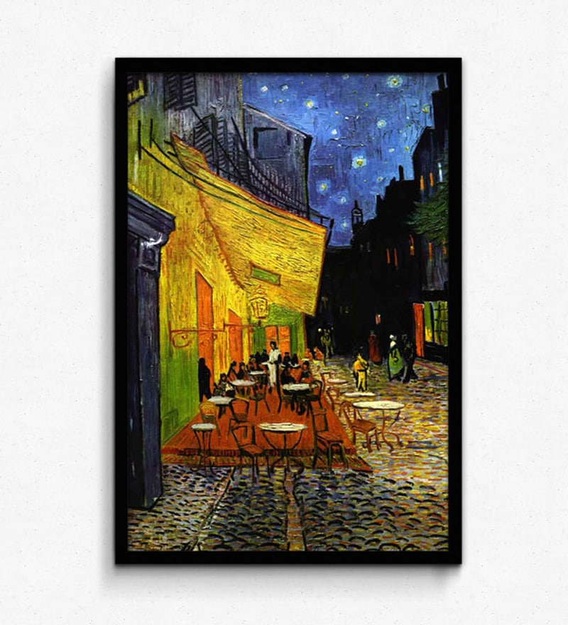 Photo Paper 12 x 18 Inch The Cafe Terrace on The Place Framed Digital Art Print by Seven Rays