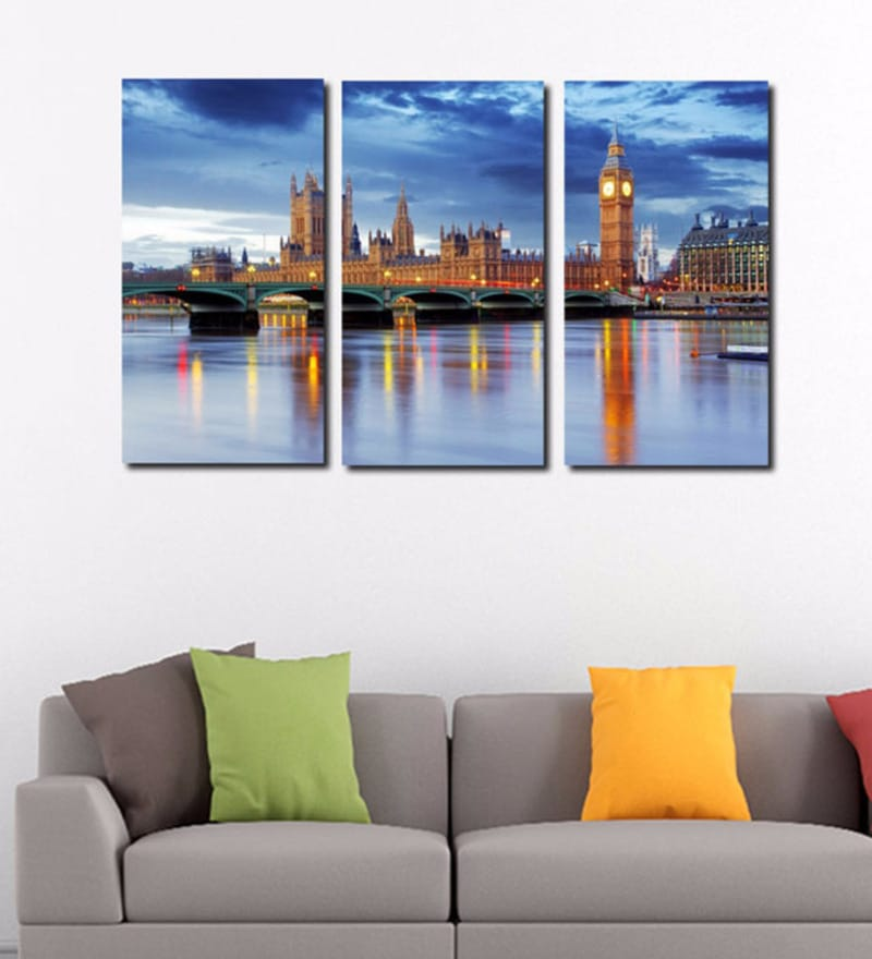 Vinyl 24 x 36 Inch View of Westminster Hall And Bridge Stretched Art Panel - Set of 3 by Tallenge