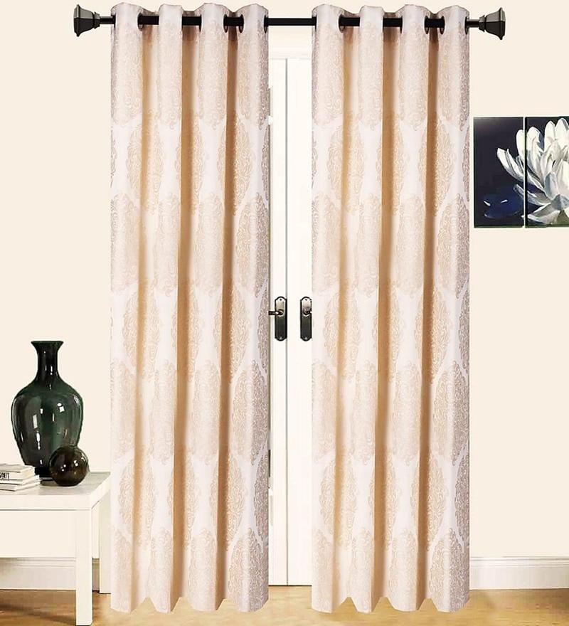 Beige Polycotton 53 x 88 Inch Best Quality Door Curtain - Set of 2 by Vista Home Fashion
