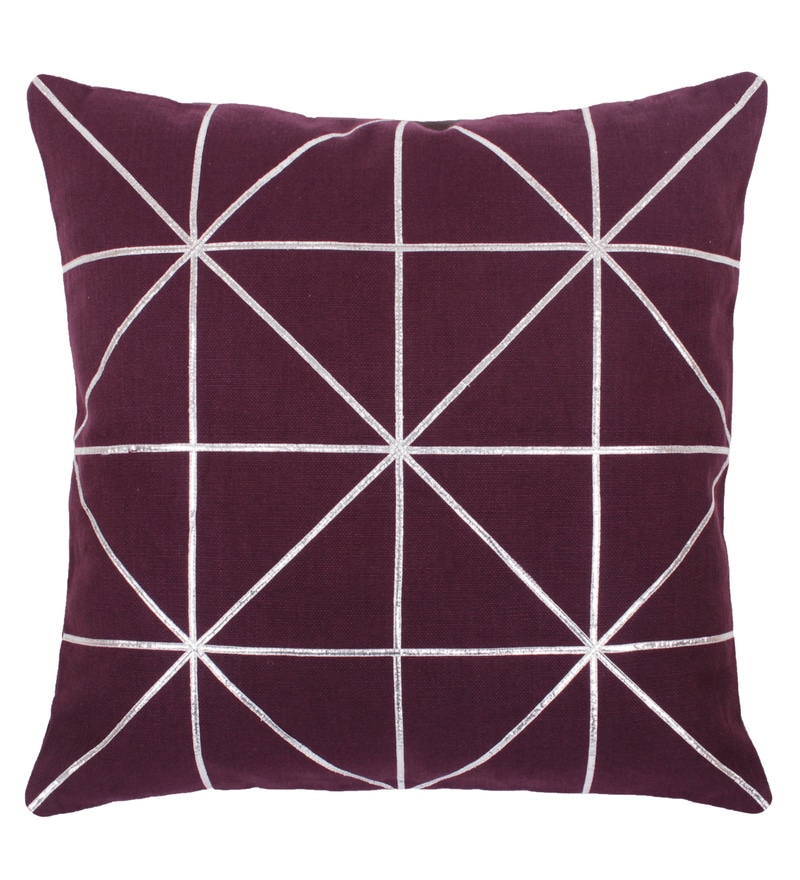 Magenta Cotton 18 x 18 Inch Embraided Cushion Cover by Vista Home Fashion
