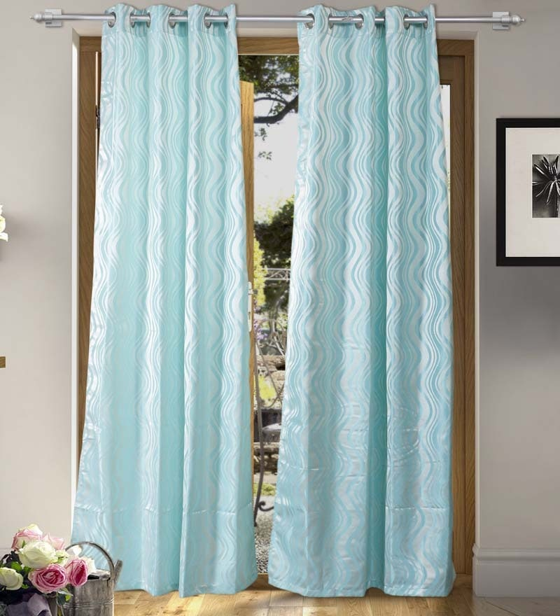 Light Blue Polyester 84 x 55 Inch Fashion Door Curtain - Set of 2 by Vista Home Fashion