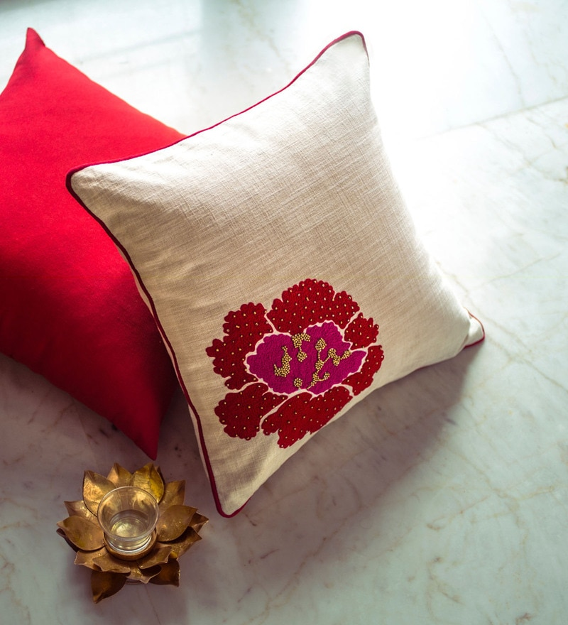 Red & White Cotton 18 x 18 Inch Embraided Cushion Cover by Vista Home Fashion