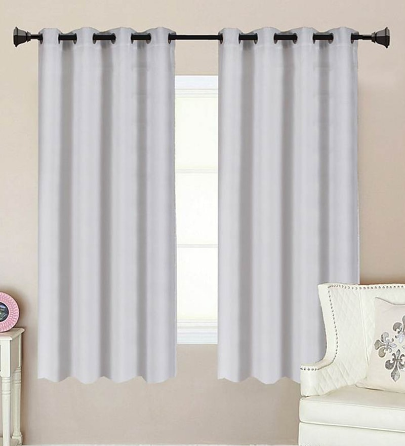 White Polycotton 53 x 63 Inch Best Quality Window Curtain - Set of 2 by Vista Home Fashion