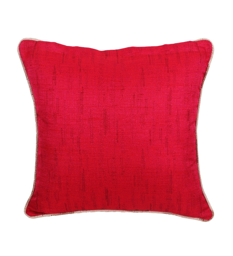 Red Polyester 16 x 16 Inch Cushion Cover by Vista