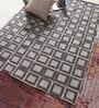 Blue Viscose & Leather 74 x 52 Inch Patchwork Carpet by Vikram Carpets