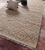 Red & Beige Wool 96 x 60 Inch Carpet by Vikram Carpets