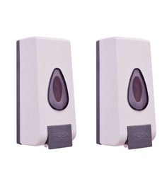 VML White PVC 800 ML Liquid Soap Dispensers - Set Of 2