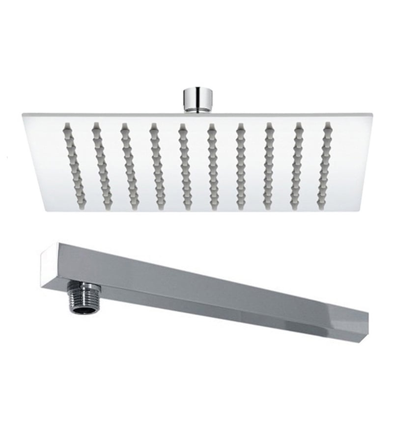 VML Ultra Slim Chrome Stainless Steel 8 Inch Overhead Shower with 12 Inch Arm