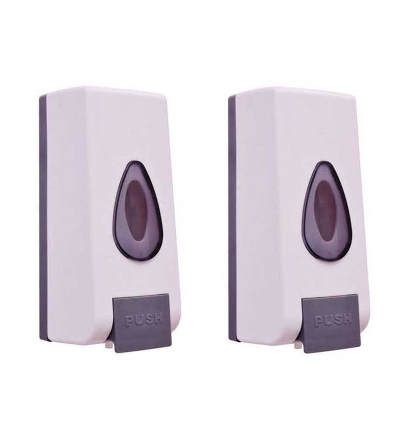 VML White PVC 800 ML Liquid Soap Dispensers - Set of 2