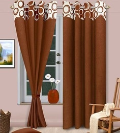 brown polyester abstract eyelet door curtain set of 2