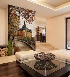 Orange Non Woven Paper Alcazar Castle Wallpaper