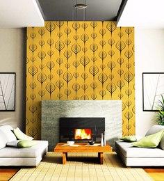 Yellow Non Woven Paper Leaf Pattern Wallpaper ...