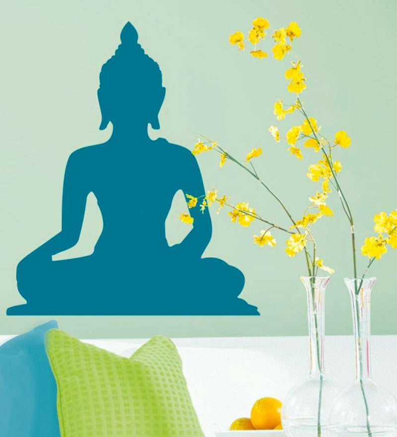 PVC Vinyl Blue Peaceful Buddha Wall Sticker by WallTola
