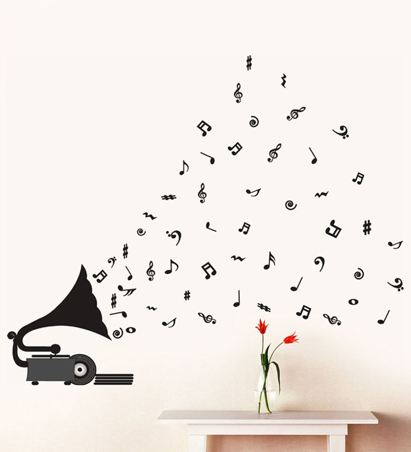 PVC Vinyl Gramophone with Musical Notes Wall Sticker by WallTola