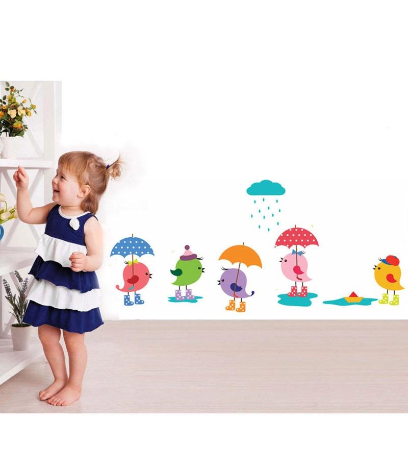PVC Vinyl Littel Birds in The Rain Wall Sticker by WallTola
