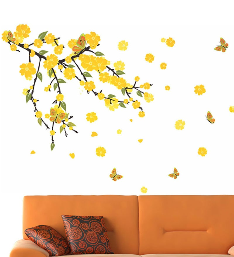 PVC Vinyl Mind Blowing Yellow Flowers Wall Sticker by WallTola