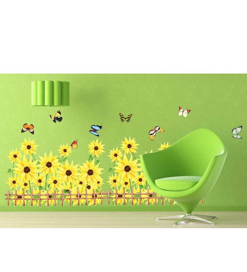 PVC Vinyl Yellow Sunflower Border 766 Wall Sticker by WallTola