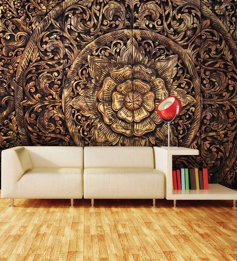 Brown Non Woven Paper Bronze Lotus Wallpaper by Wallskin