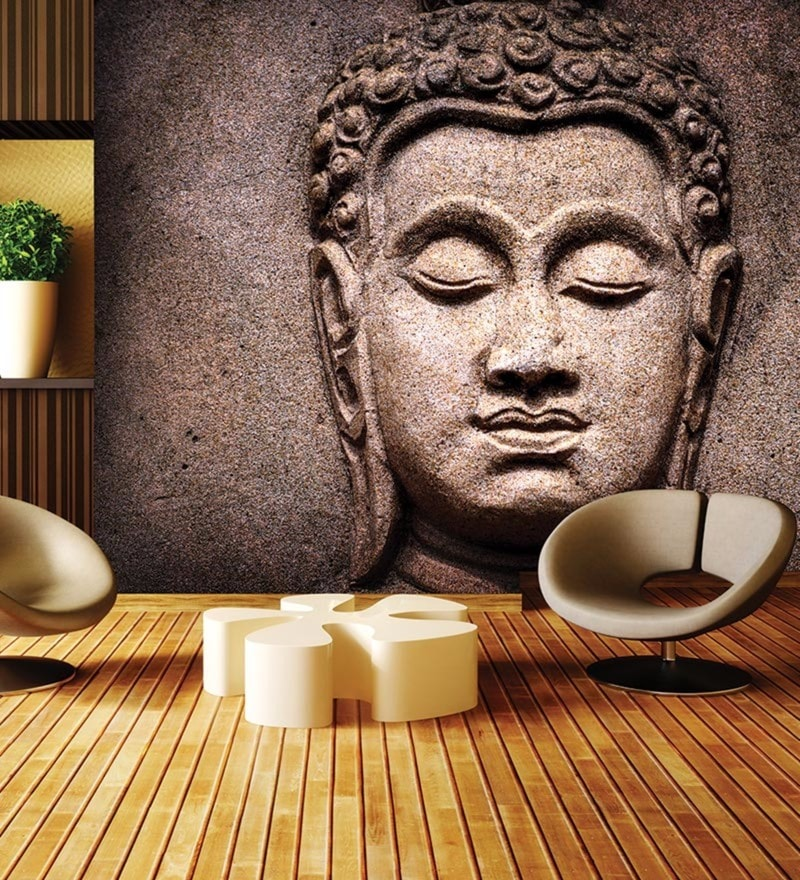 Brown Non Woven Paper Buddha Stone Wallpaper by Wallskin