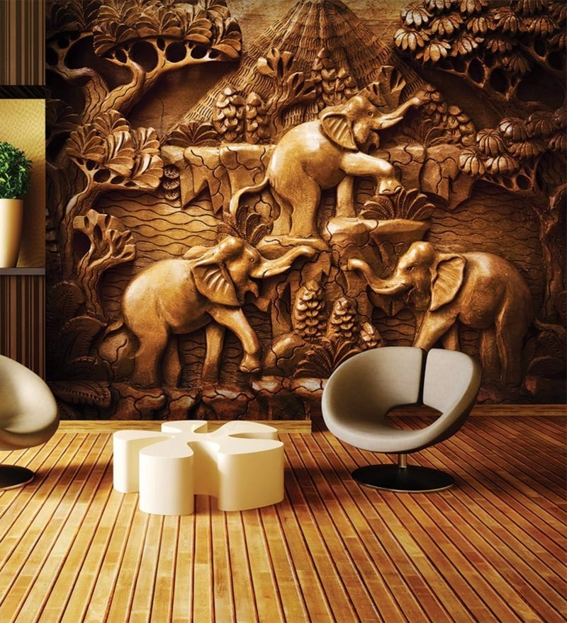 Brown Non Woven Paper Carved Statue of Three Elephants Wallpaper by Wallskin