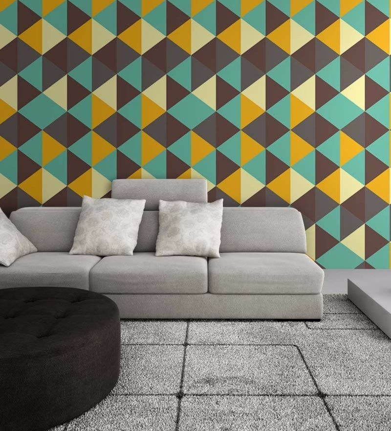 Green Non Woven Paper Retro Diamond Pattern Wallpaper by Wallskin