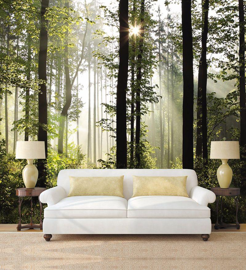 Green Non Woven Paper Sun Soaked Trees Wallpaper by Wallskin