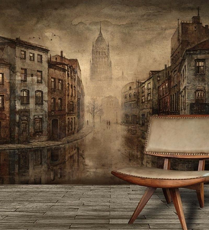 Grey Non Woven Paper Dark Street View Wallpaper by Wallskin
