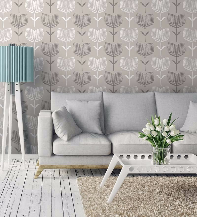 Grey Non Woven Paper Floral Mosaics Wallpaper by Wallskin