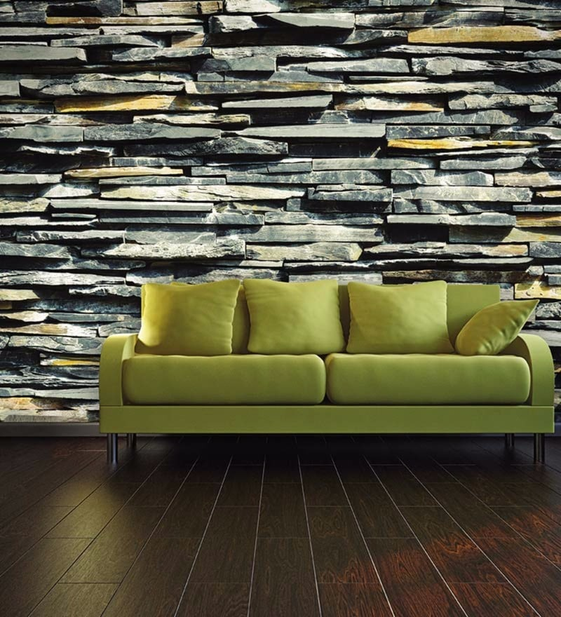 Grey Non Woven Paper Stones Wallpaper by Wallskin