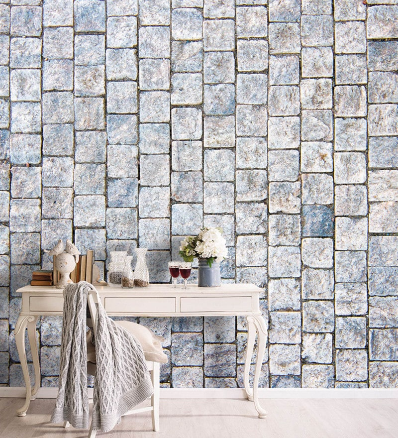 Grey Non Woven Paper White Stone Wall Wallpaper by Wallskin