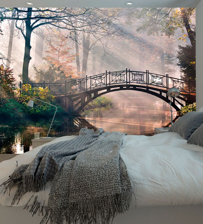 Multicolour Non Woven Paper Bridge by Streams Wallpaper by Wallskin