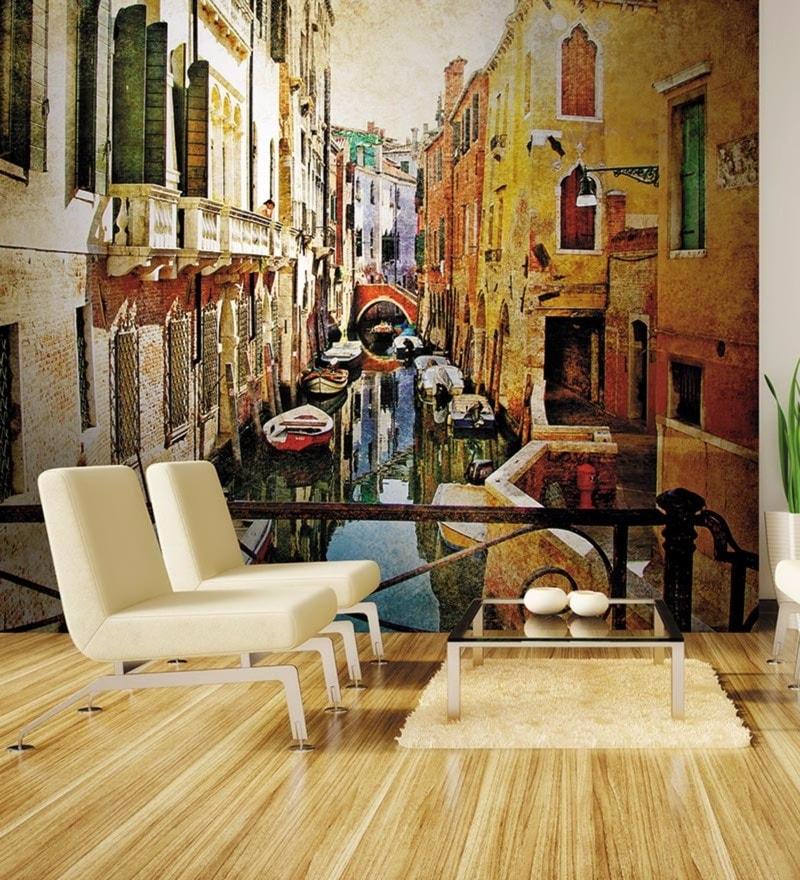Orange Non Woven Paper Amazing Venice Wallpaper by Wallskin