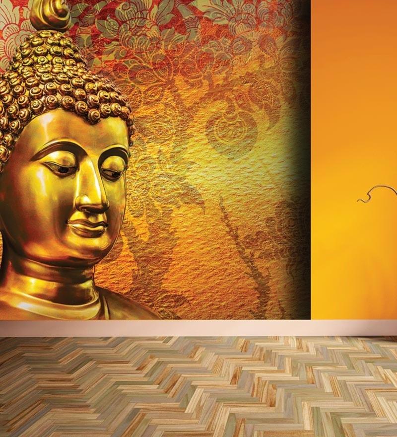 Orange Non Woven Paper Buddha Great Wallpaper by Wallskin