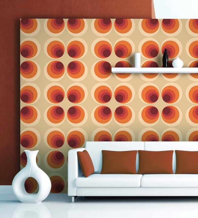 Orange Non Woven Paper Four Circles Wallpaper by Wallskin