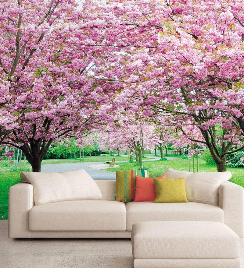 Pink Non Woven Paper Flower Trees Wallpaper by Wallskin