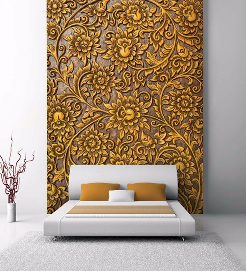 Yellow Non Woven Paper Copper Floral Wallpaper by Wallskin