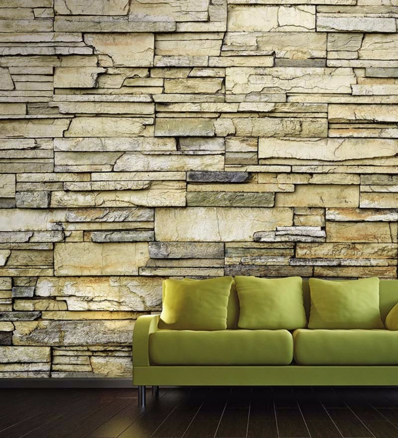 Yellow Non Woven Paper Textured Brick Wallpaper by Wallskin