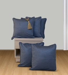 Welhome Blue Polyester 16 X 16 Inch Snapshot Cushion Cover - Set Of 5
