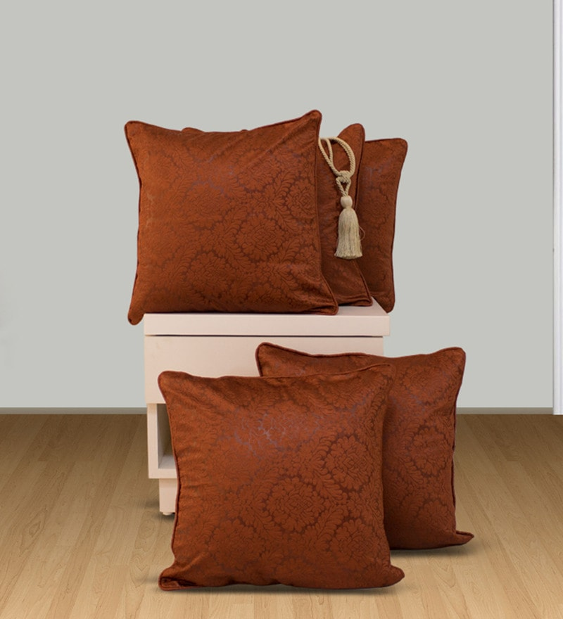 Brown Polyester 16 x 16 Inch Snapshot Cushion Cover - Set of 5 by Welhome