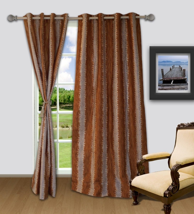 Cream And Orange Polyester 48 x 84 Inch Snapshot Door Curtain by Welhome