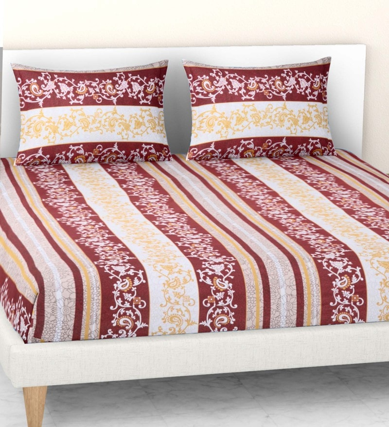 Welhome Maroon 100% Cotton Essential Double Bed Sheet Set