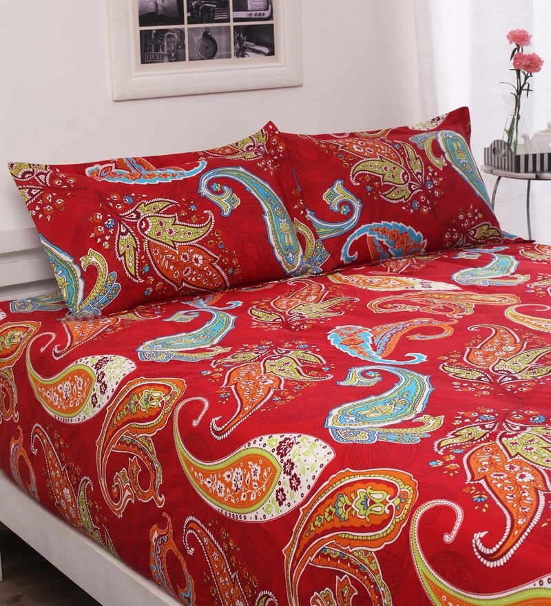 Reds Indian Ethnic Cotton Queen Size Bed Sheets - Set of 3 by Welhome