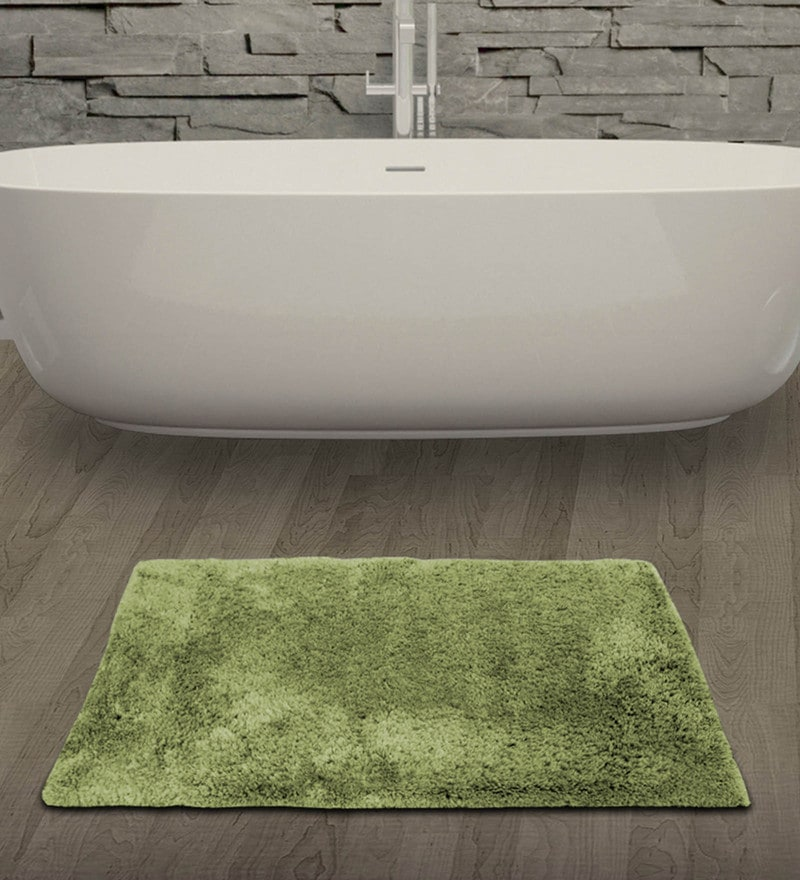 Sage 100% Cotton 19 x 32 Inch Unwinders Bath Mat by Welhome