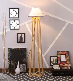 White & Black Cotton Floor Lamp
