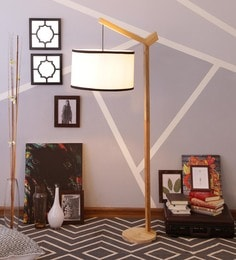 White & Black Cotton Floor Lamp - 1630964