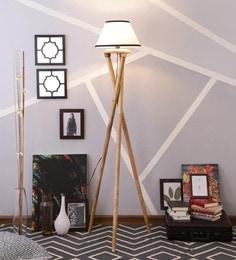 White & Black Cotton Floor Lamp - 1630990