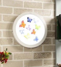 White Aluminium 24 W Round LED Picture Wall Light Multicolor 3D Butterfly